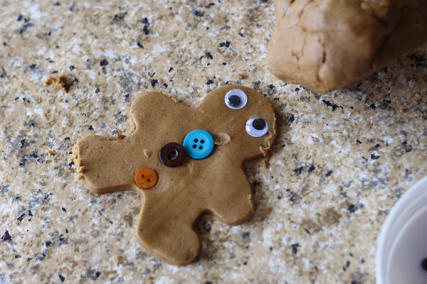 Homemade gingerbread man playdough