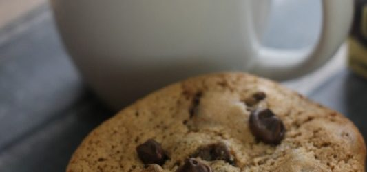 Cappuccino chocolate chip cookies and a cup of coffee