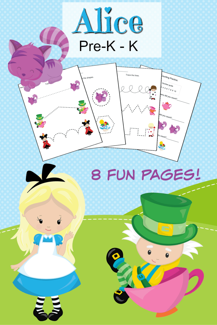 Alice in Wonderland Preschool Printable