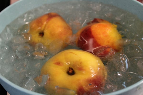 poached canned peaches ice