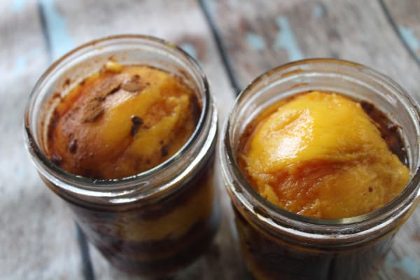 sweet teach poached peaches tea
