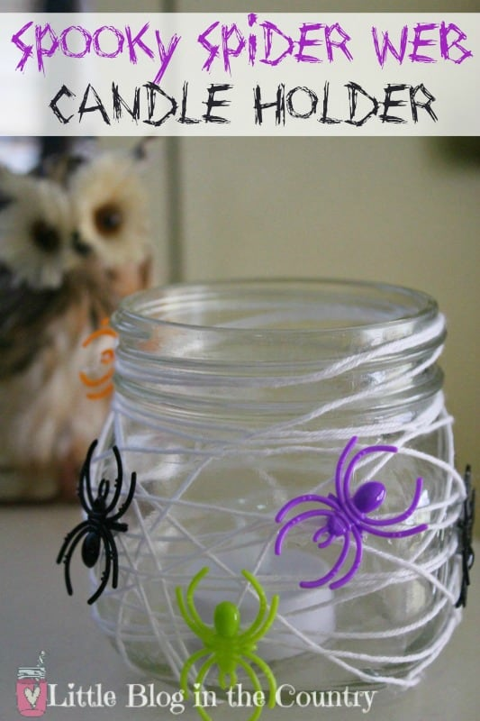 Spider Web Candle Holder Halloween Craft