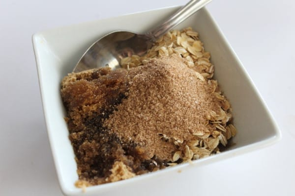 mixing oatmeal and brown sugar for a homemade scrub