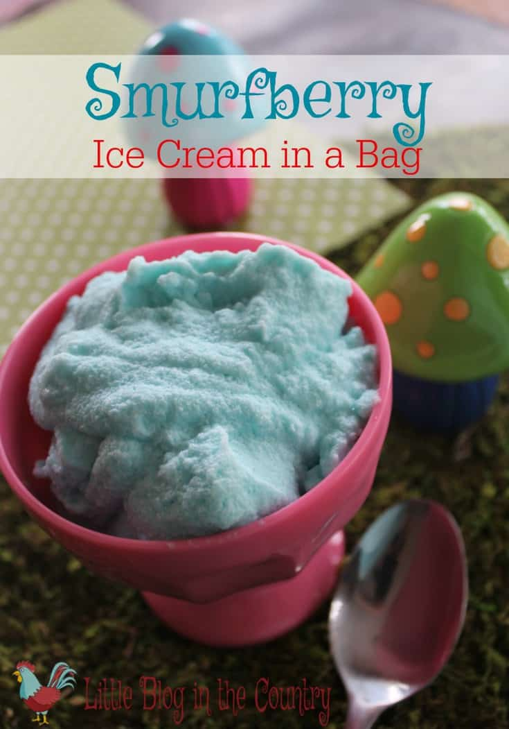 smurfberry ice cream in a bag