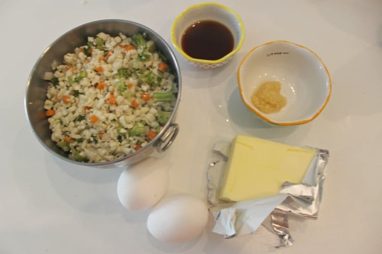All the ingredients to make Cauliflower fried rice