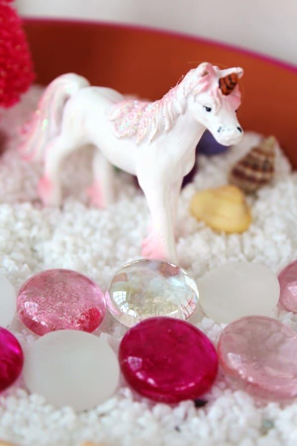 Fairy garden with a unicorn