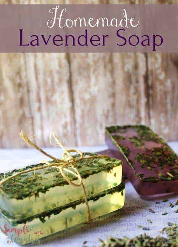 homemade melt and pour lavender soap with text that says homemade lavender soap