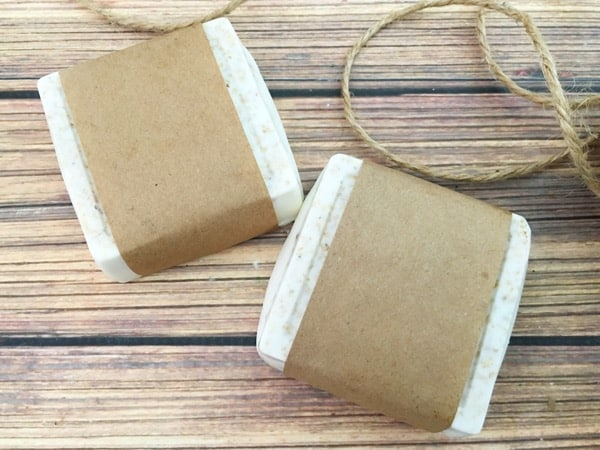 Homemade honey oatmeal soap wrapped with brown paper
