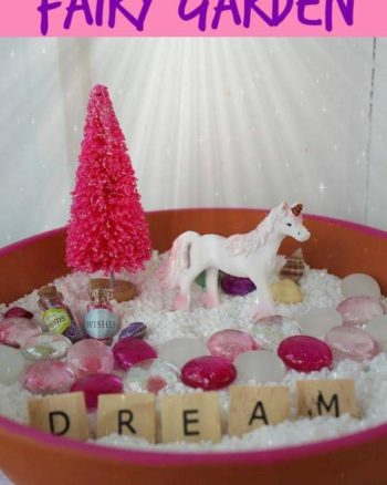 Unicorn fairy garden in a terra cotta planter