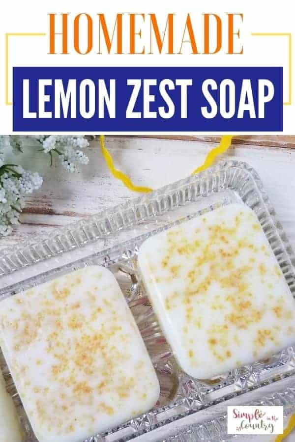 Homemade Lemon Zest Soap on a glass dish