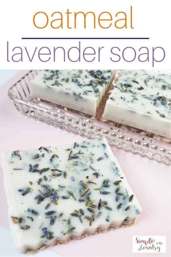 Homemade oatmeal lavender soap on s glass dish