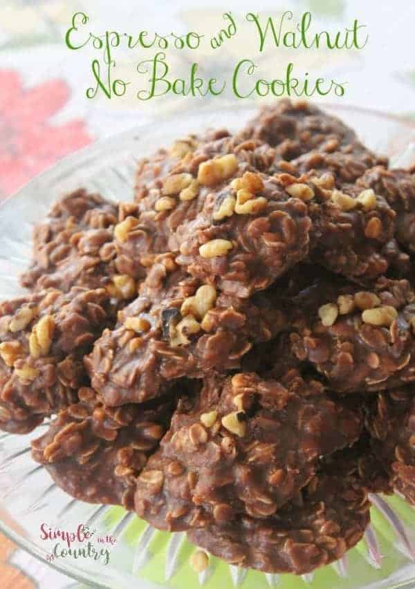 Espresso walnut no bake cookies