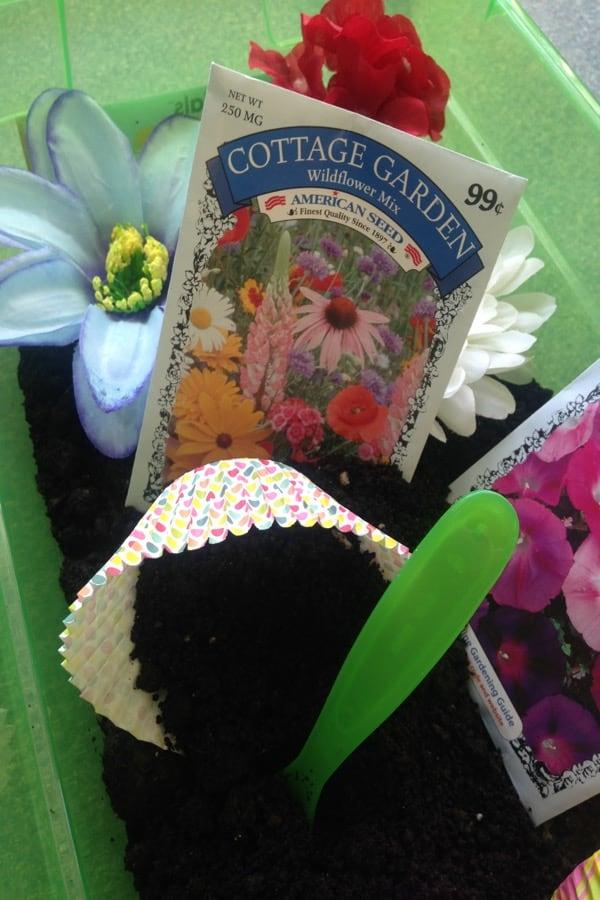 Flower garden sensory box