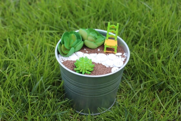 Fairy garden in an ikea metal bucket