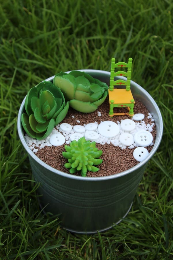 IKEA metal bucket planter fairy garden