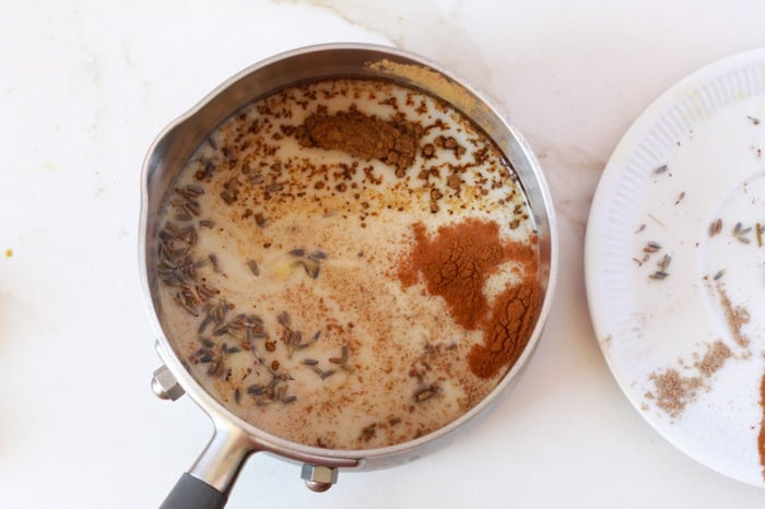 lavender moon Milk ingredients in a pot