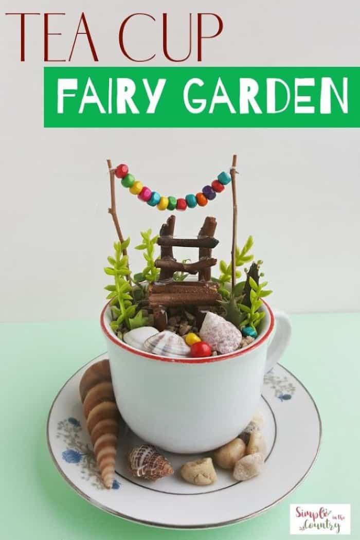 Tea Cup Fairy Garden with a Miniature Chair