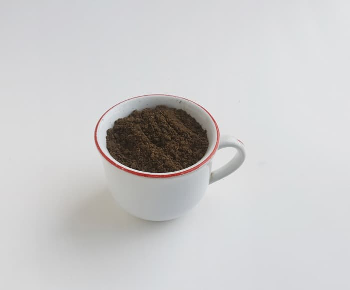 Dirt in a tea cup for a craft