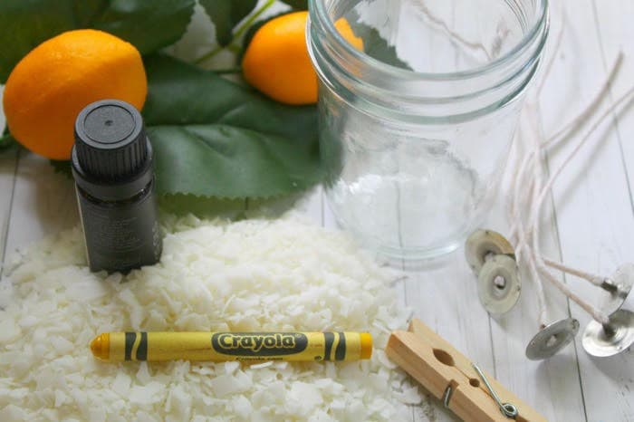 Homemade lemon candle supplies