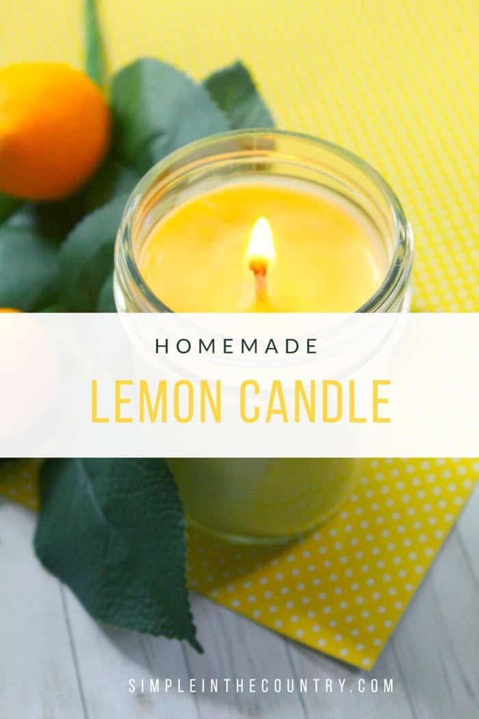 Homemade lemon scented candle in a mason jar