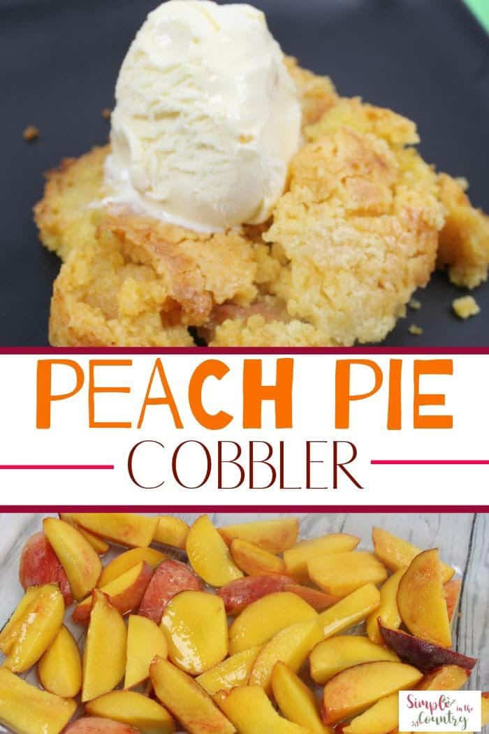homemade peach pie cobbler with cake mix on a black plate with a scoop of vanilla ice cream on top