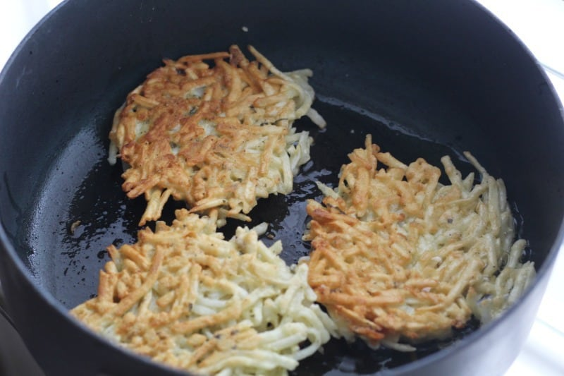 frying hash brown latkes