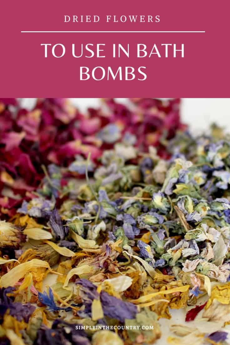 Dried flowers for bath bombs