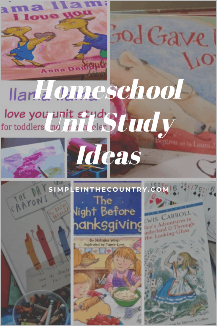 a collage of book images that show homeschool unit study ideas.