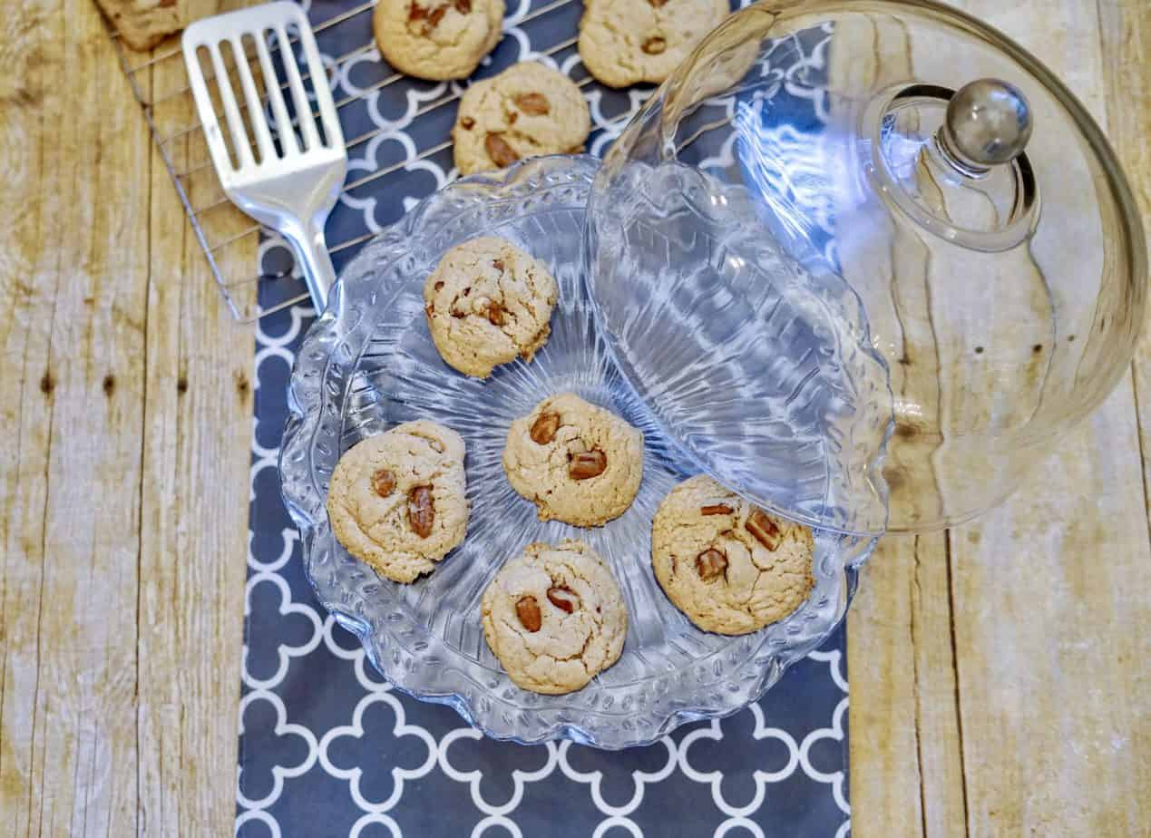 pecan cake mix cookies out of the oven