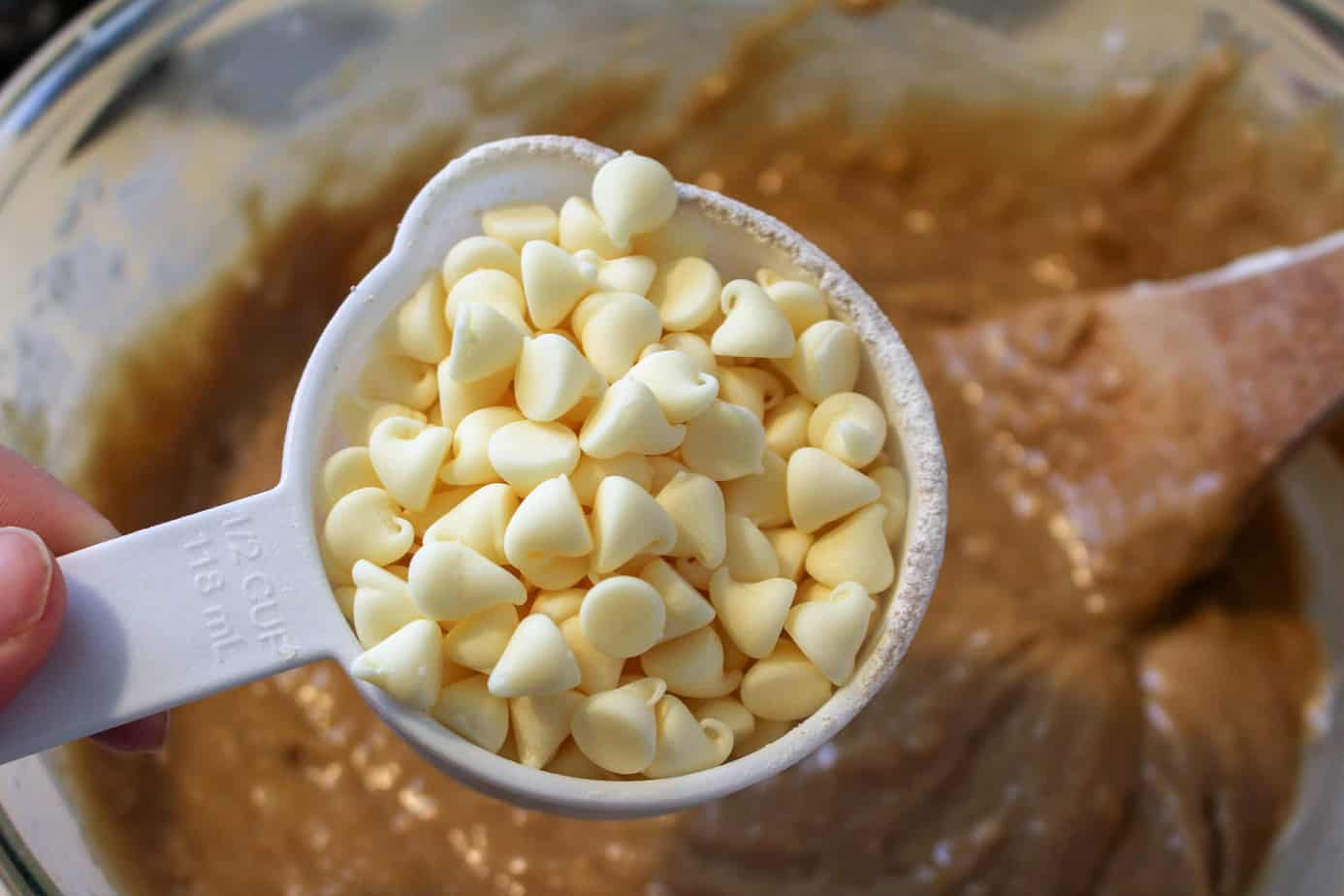 pouring in the white chocolate chips