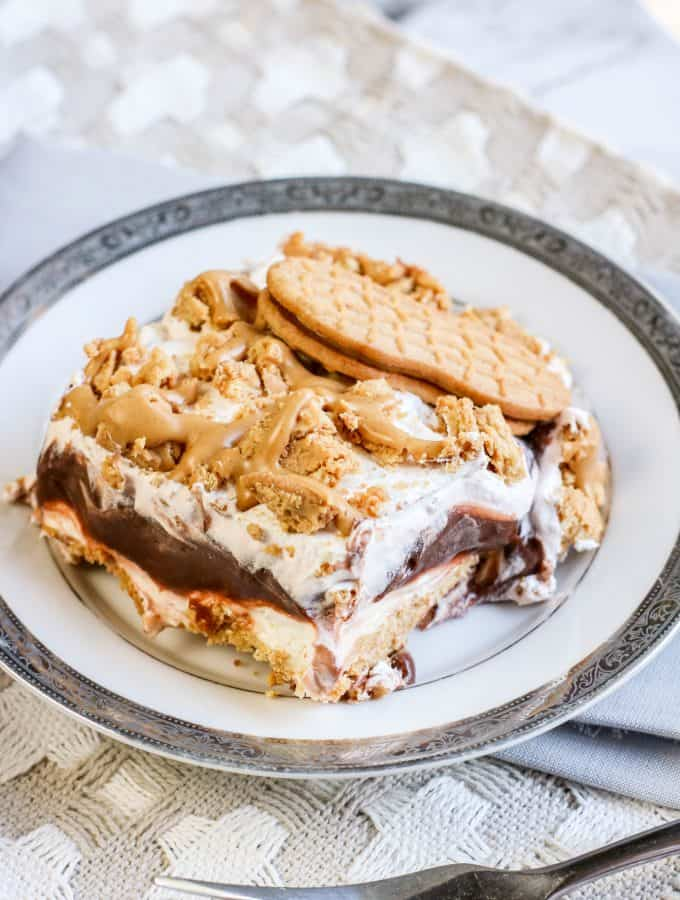 Nutter Butter Lasagna with Chocolate